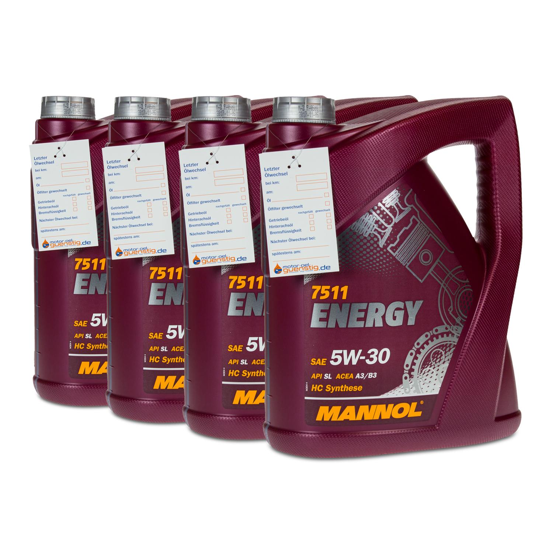 [Ebay Plus] 4x5 Liter MANNOL SAE 5W-30 ENERGY Motoröl