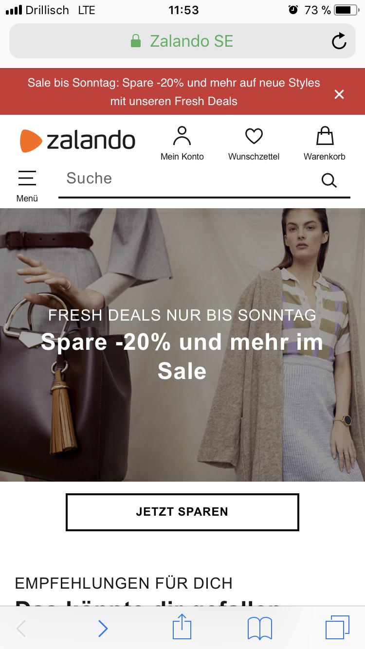 Zalando Fresh Sale bis zu 50% Rabatt
