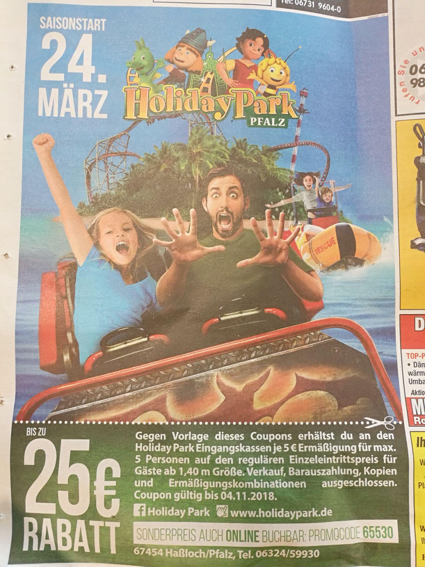 Holiday Park: Je 5€ Rabatt auf den Einzelticket-Preis (max 5 Personen)
