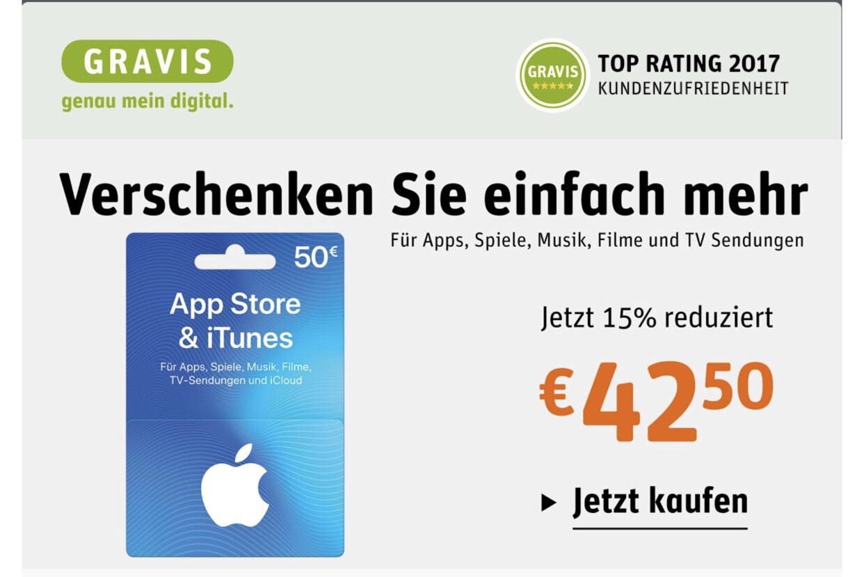 [Gravis] iTunes 50€ Geschenkkarten für 42,50€
