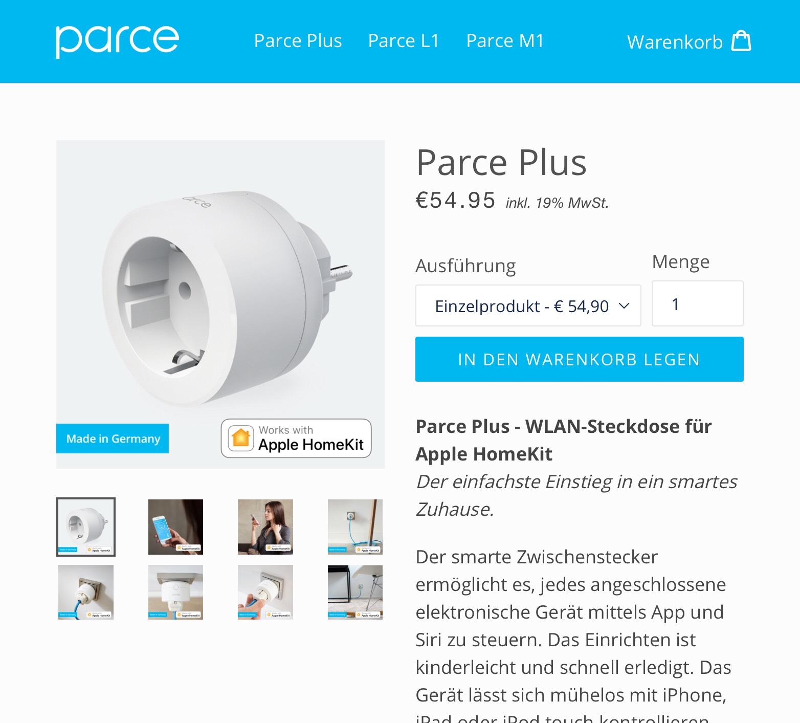 ParcePlus HomeKit Steckdose - Made in Germany - wieder verfügbar!