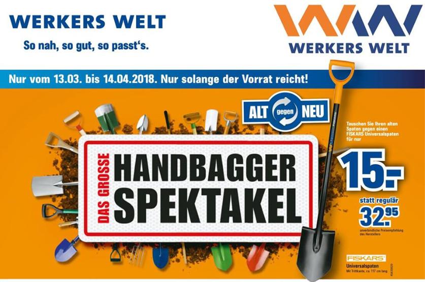 [offline bundesweit] Fiskars Spaten | alt gegen neu | Handbagger Spektakel bei Werkers Welt