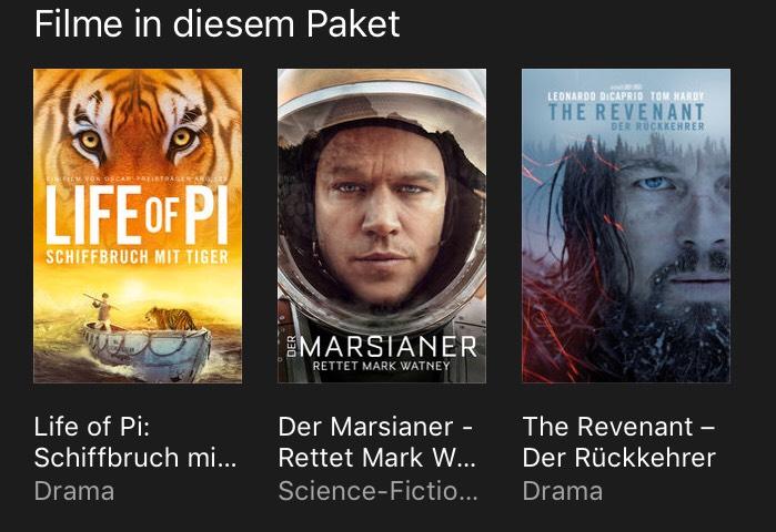 """(iTunes)  4K + HDR, Film-Bundle """"Life of Pi"""" / """"Der Marsianer"""" / """"The Revenant"""""""