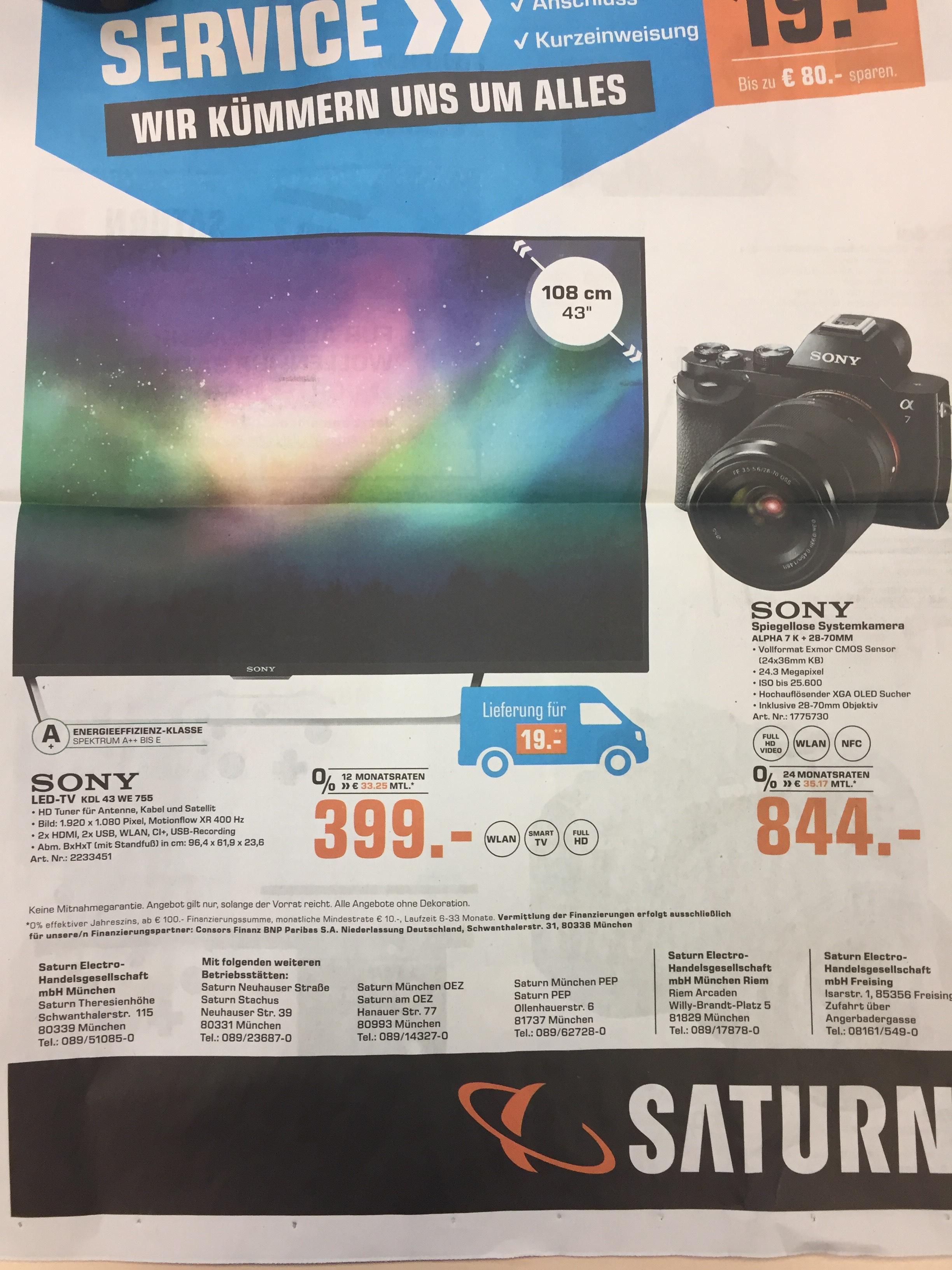 Lokal Sony Alpha 7 mit Objektiv für 844€ lokal