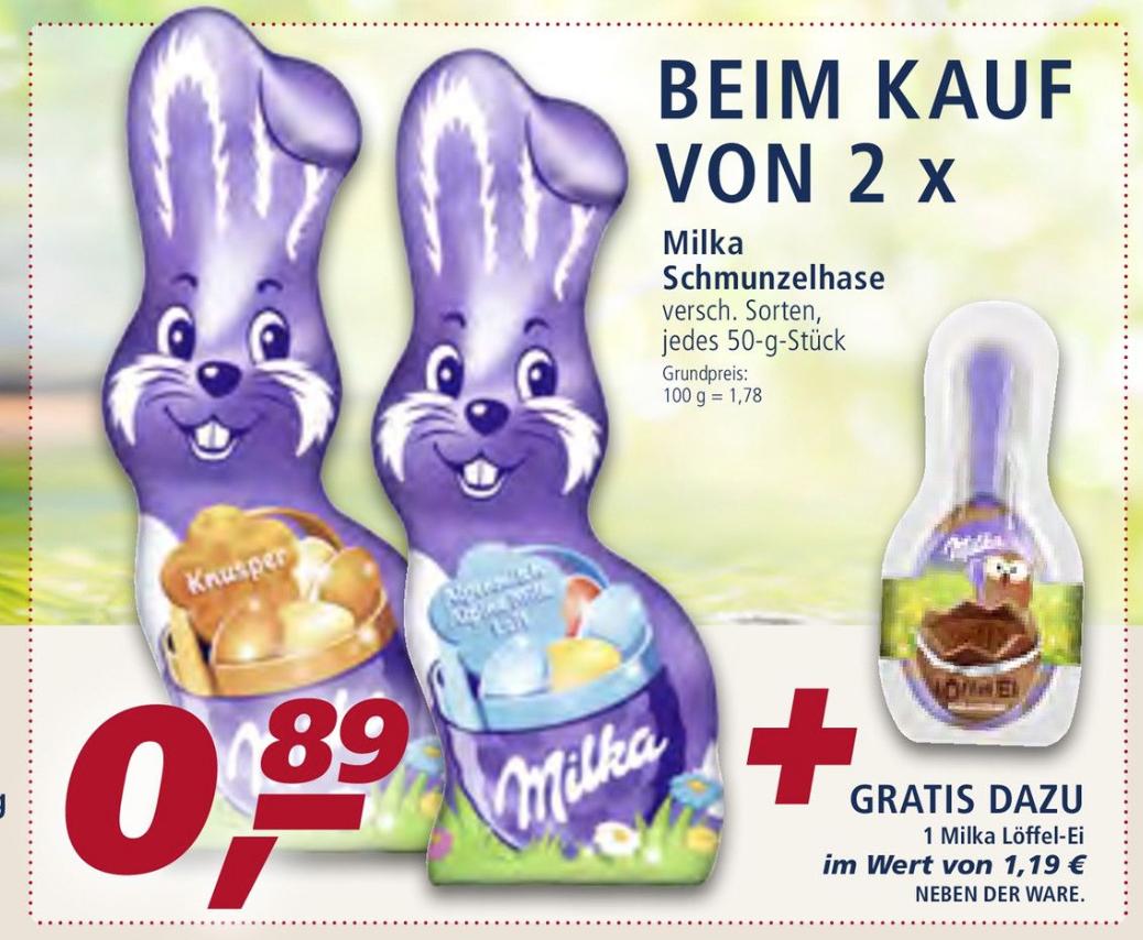 REAL WOW OSTERANGEBOT - Beim Kauf von 2 Schokohasen + 1 Milka Löffel Ei GRATIS
