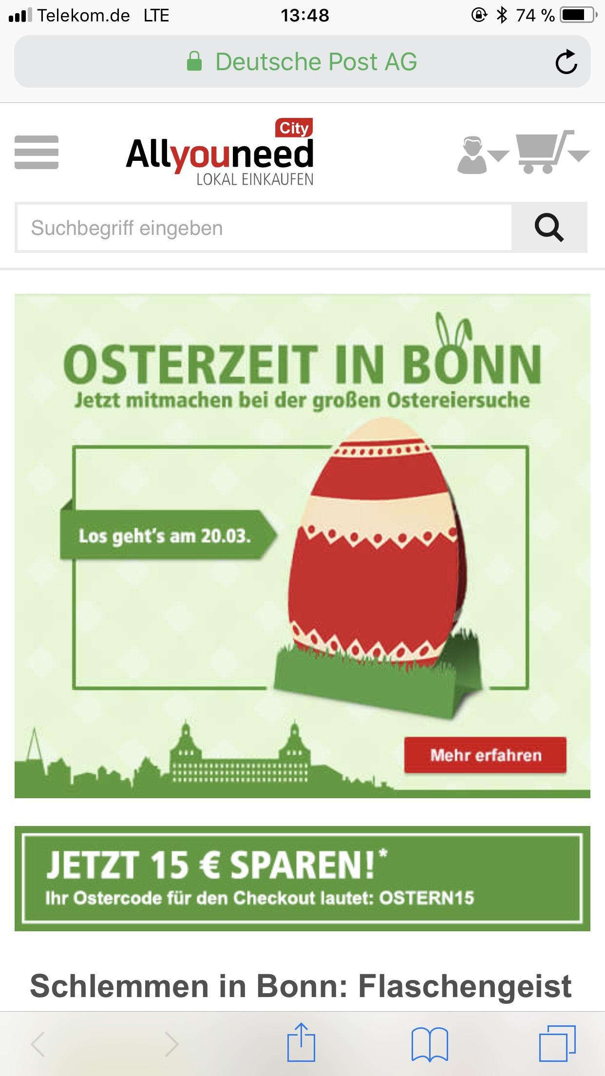 15€ Rabatt durch den OsterCode OSTERN15 | AllyouneedCity