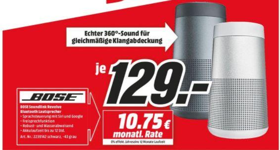 [Regional Mediamarkt Paderborn] Bose SoundLink Revolve, mobiler Lautsprecher, Bluetooth/NFC, in 2 Farben für je 129,-€