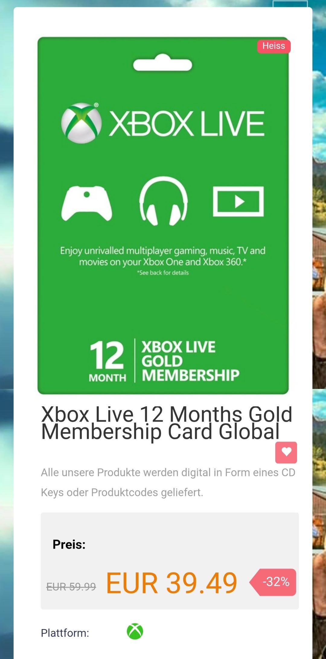 12 Monate xbox live gold für nur 39,49€