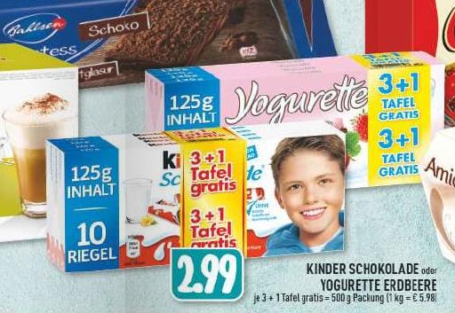 Kinder Schokolade o. Yogurette Erdbeere 4 x 125g Packung für nur 2,99€ (1kg = 5,98€) [EDEKA Rhein/Ruhr]