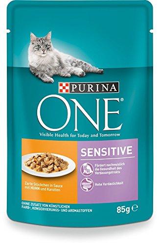 One Sensitive Katzenfutter mit Huhn und Karotten, 24er Pack