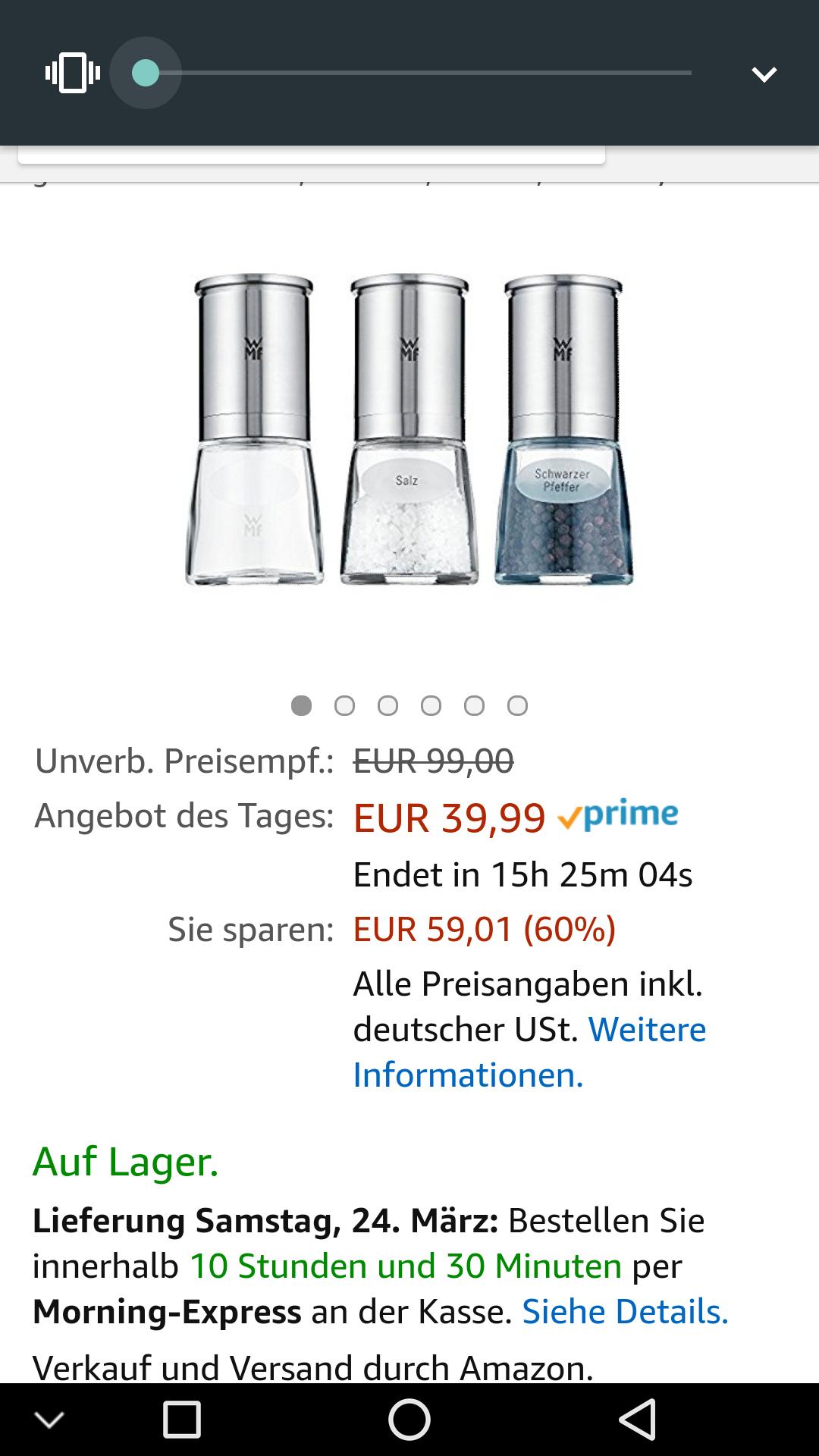 [Amazon.de] WMF De Luxe Salz und Pfeffermühle-Set 3-teilig,