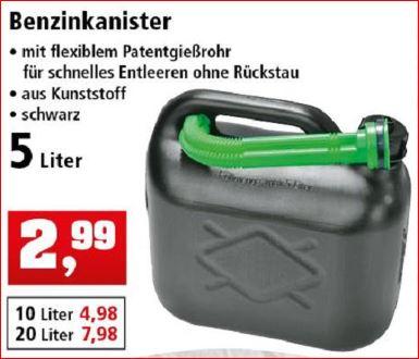 5 Liter Benzin / Kraftstoffkanister für 2,99 Euro [Thomas Philipps]