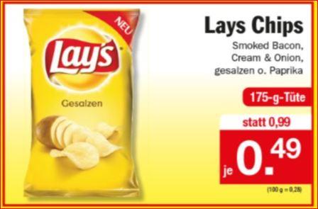 Lay´s Chips, Smoked Bacon, Cream & Onion, gesalzen oder Paprika für 0,49 Euro [Zimmermann]