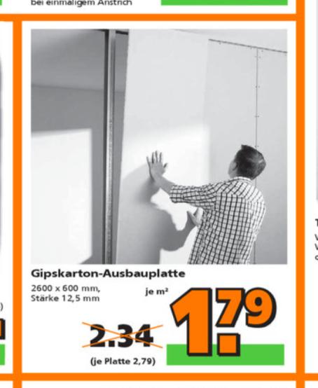 Standard Gipskartonplatte (GKP) von Knauf 2600x600x12,5 für 2,79 € bei Globus (offline evtl. auch online)