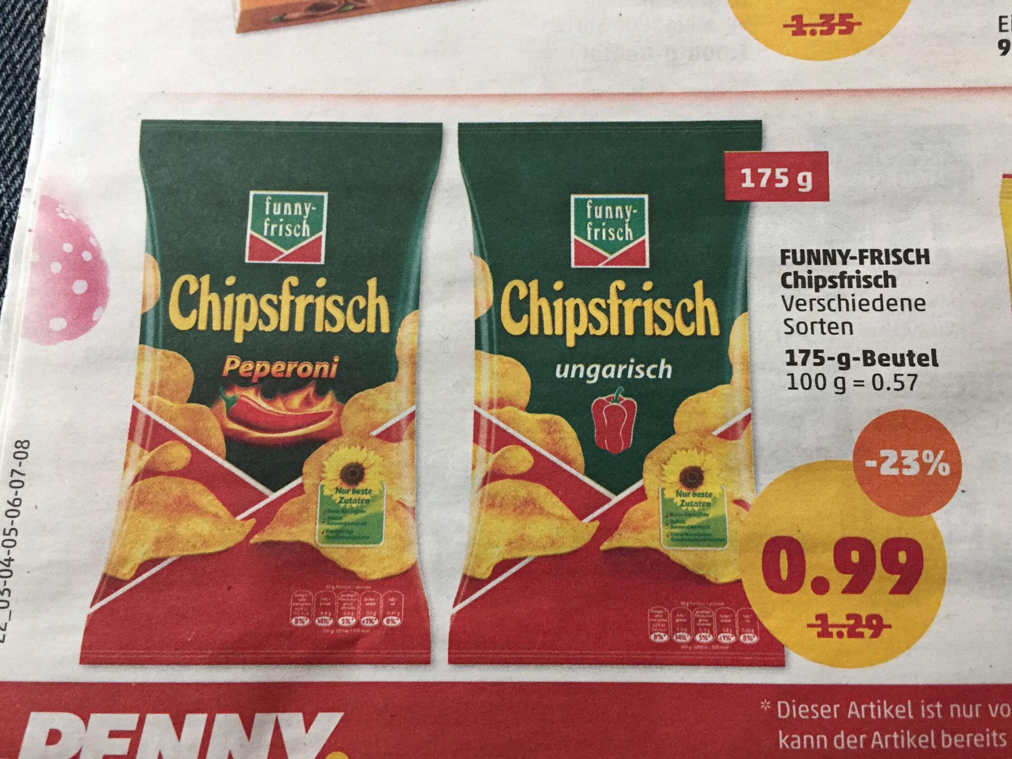 Funny Frisch Chipsfrisch div. Sorte ab 26.3 - 31.3 bei Penny Markt  175g 0,99€
