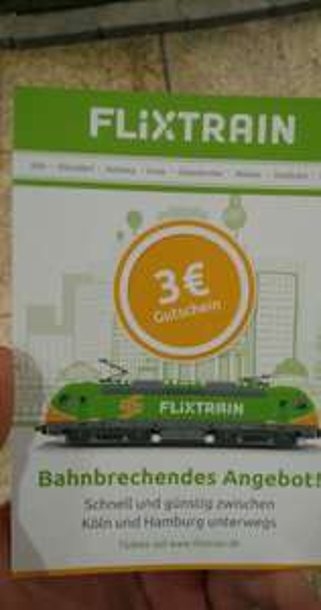 (Lokal Köln) 3€ Gutscheine von flixtrain