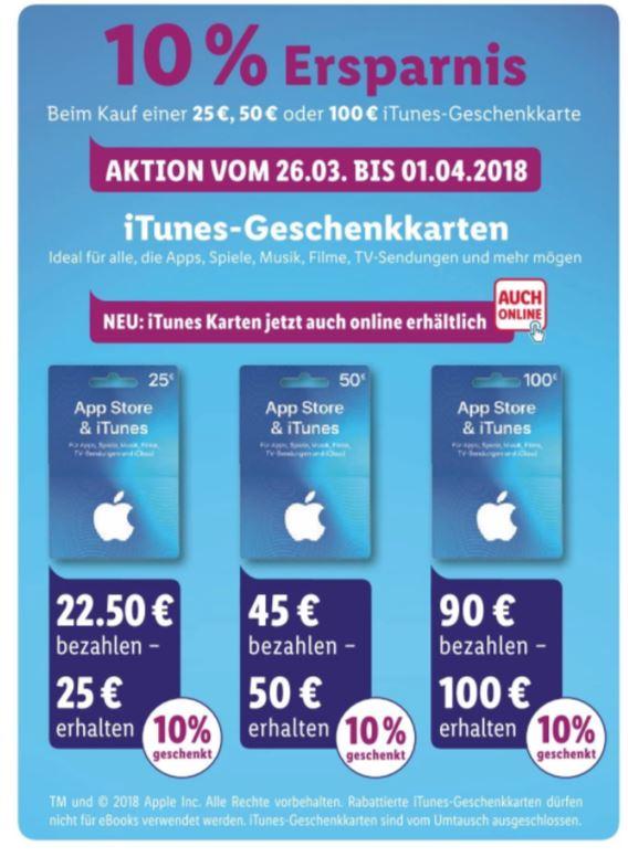 Lidl 10% Ersparnis auf Geschenkkarten für App Store & iTunes