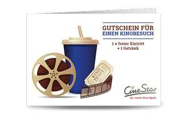 CineStar Gutschein für 1: Ticket + Getränk für 9,99 €