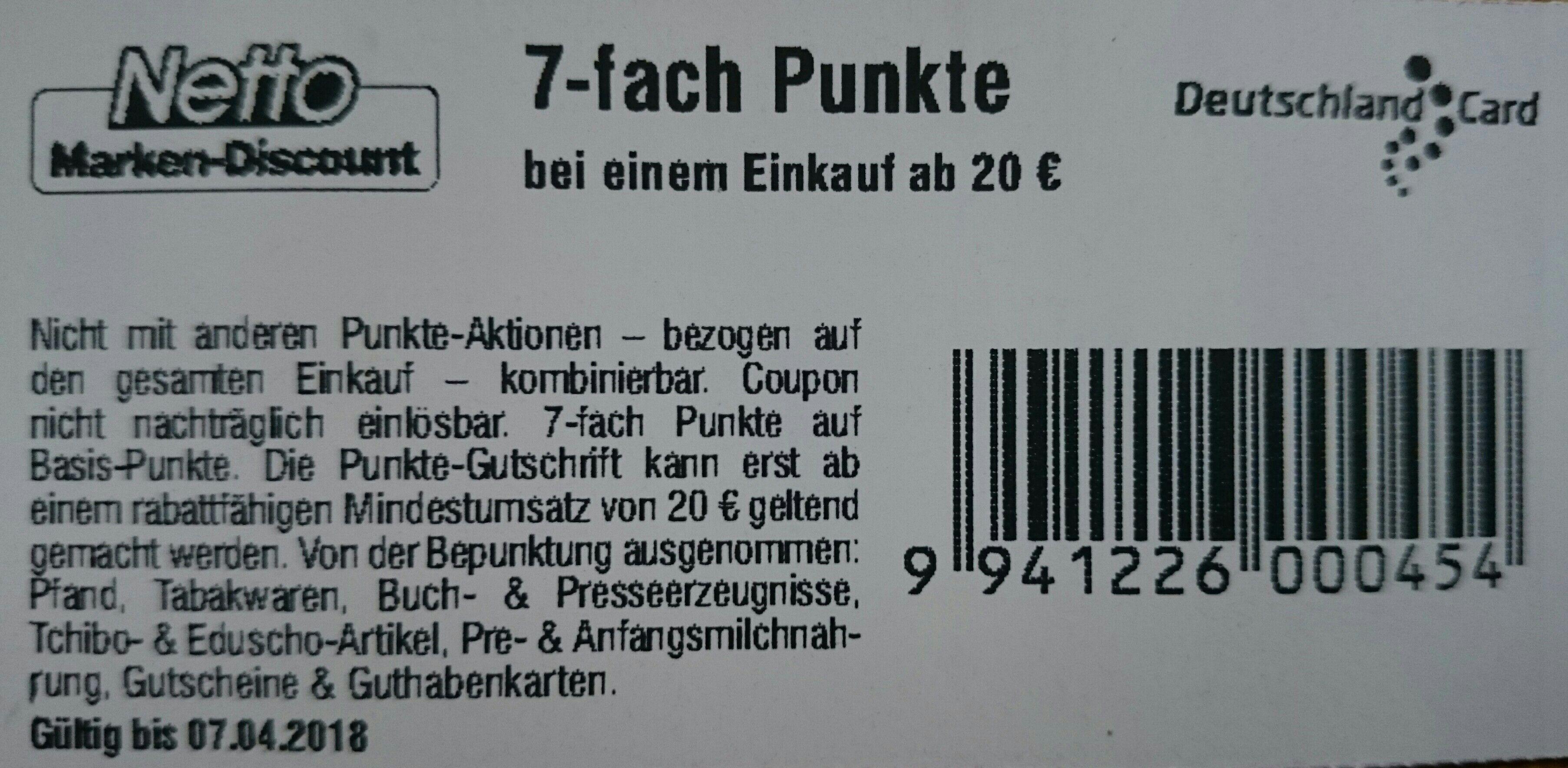 7-fach Deutschland Card Punkte bei Netto MD ab 20€ Einkauf