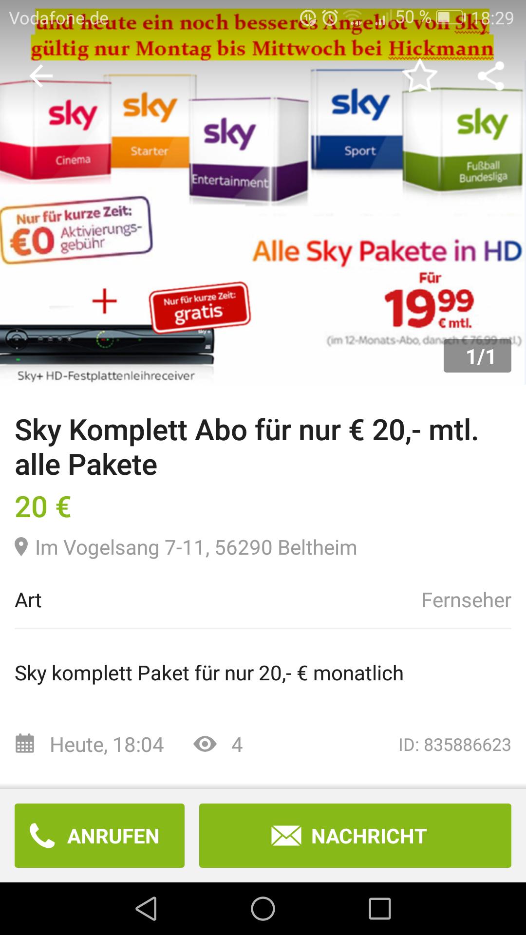 (Lokal 56290 Beltheim) Alle Sky Pakete inkl.HD für 19.99 mtl.