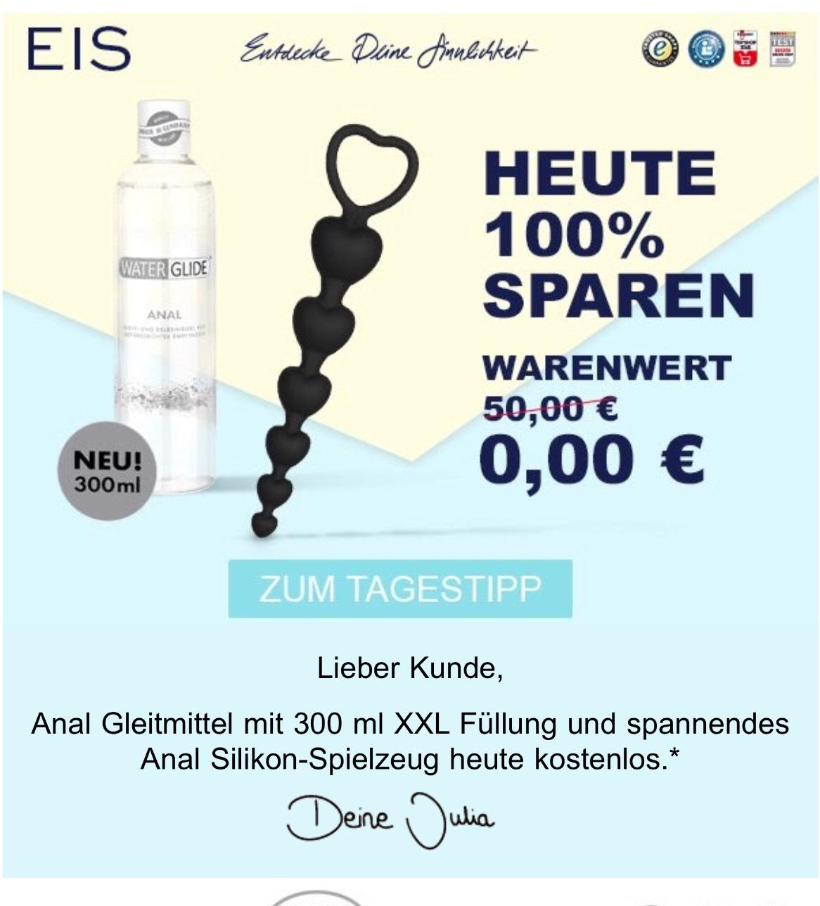 [Eis.de] Anal Gleitmittel + Spielzeug für lau (plus evt. Versandkosten)
