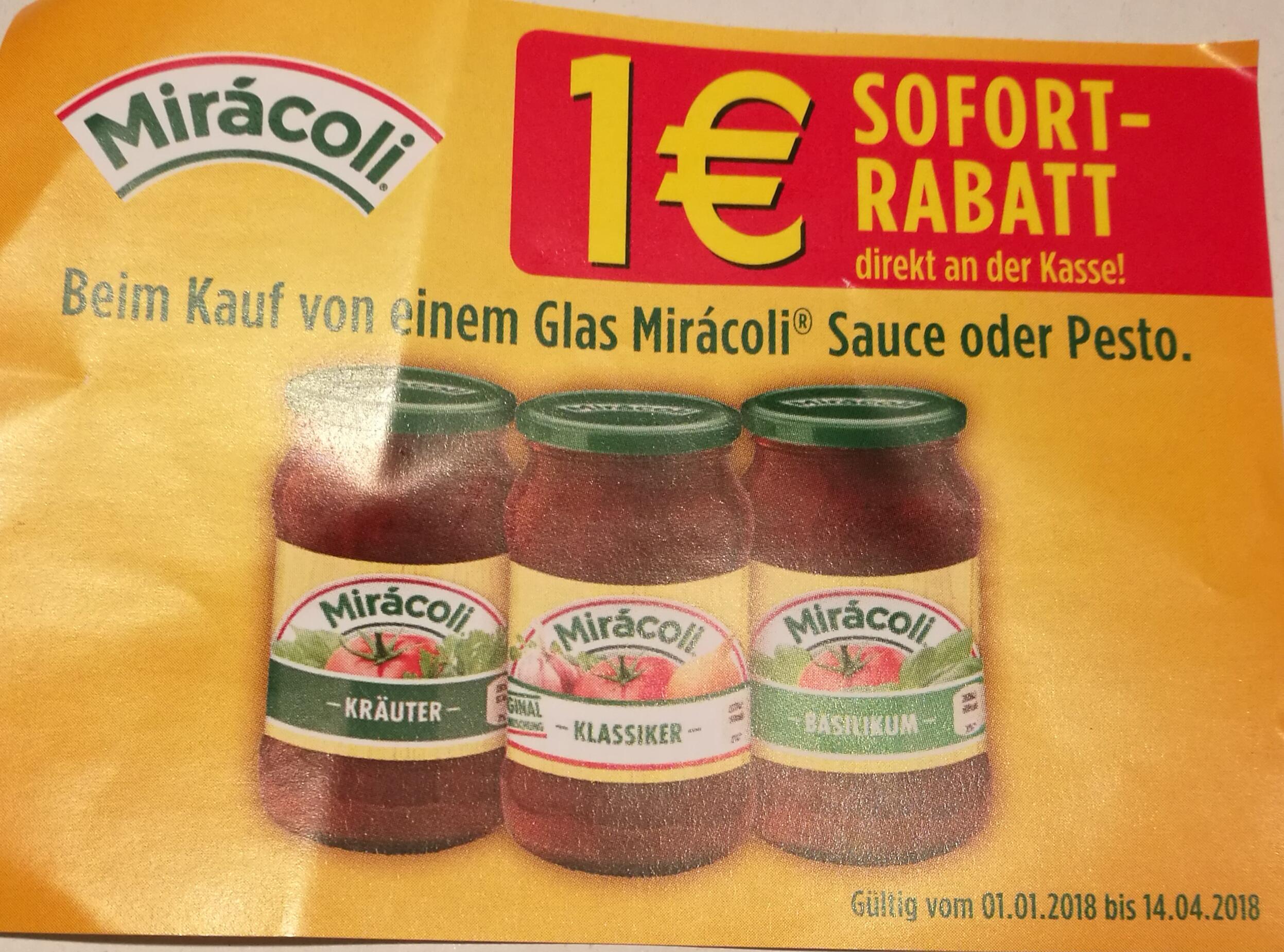 1 € Rabatt auf Miracoli Saucen/Pesto bis 14.04.18