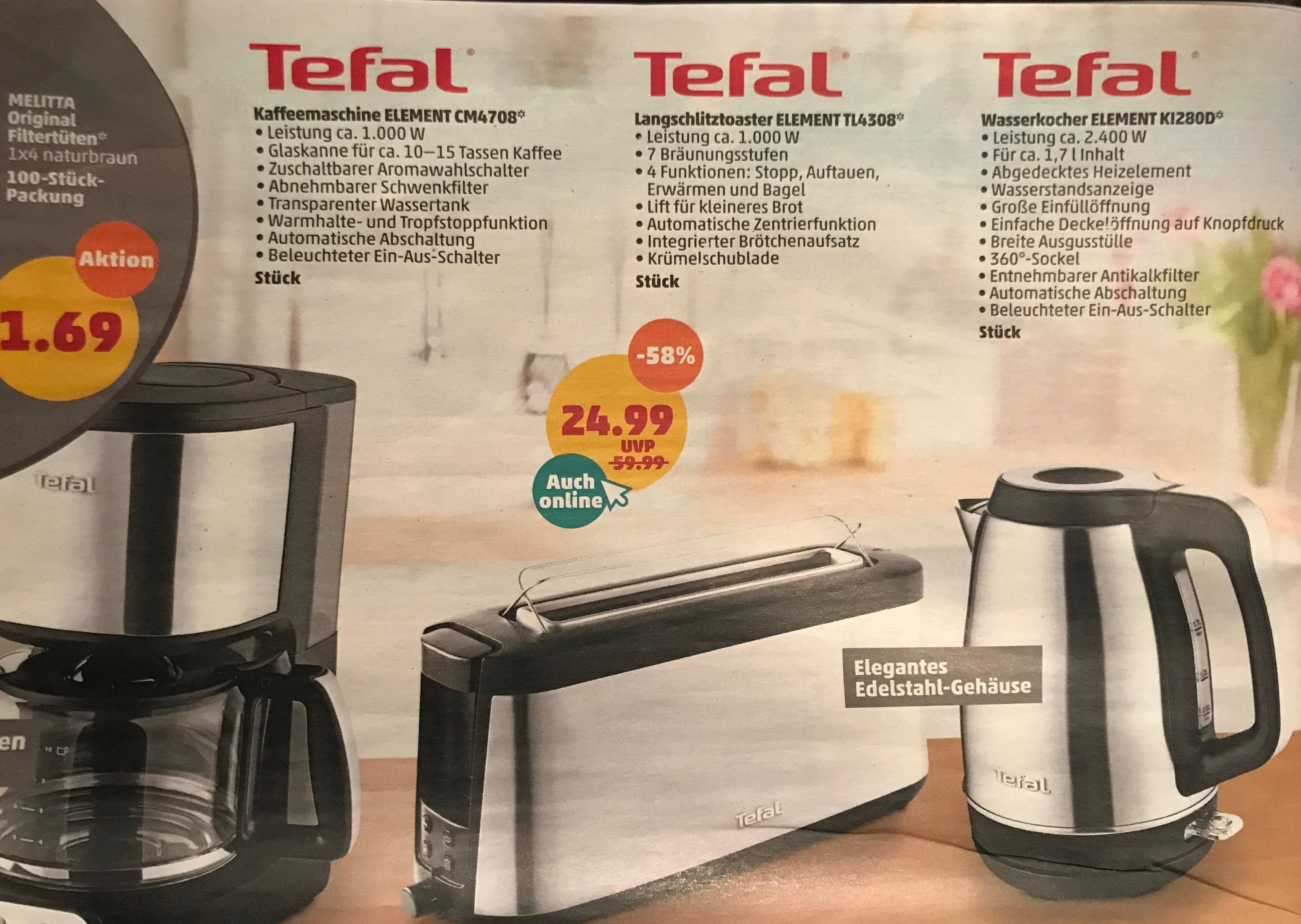 [PENNY] TEFAL Kaffeemaschine & Langschlitztoaster je 24,99 €