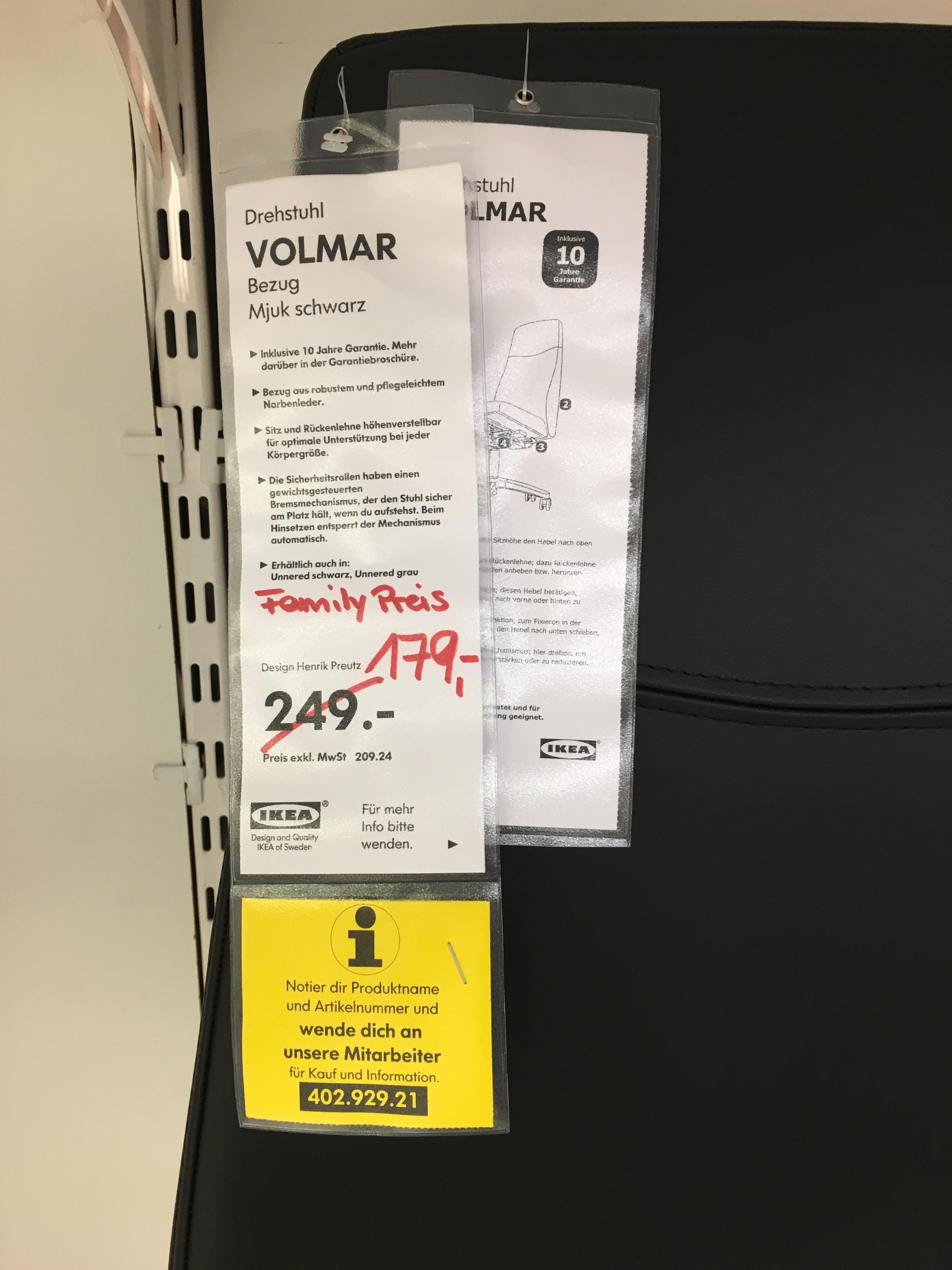 [LOKAL IKEA BRAUNSCHWEIG] Drehstuhl VOLMAR in Mjuk schwarz für Family Mitglieder (geringe Stückzahl! Evtl. schon weg)