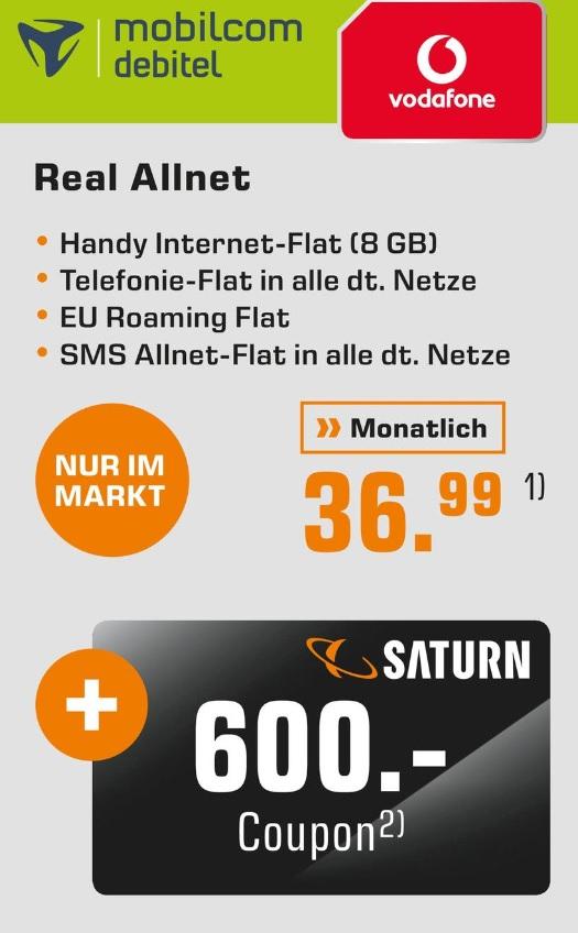 [lokal München] mobilcom-debitel Vodafone Real-Allnet 8GB (kein LTE) für monatlich 36,99 (+ einmalige Anschlußgebühr 39,99€) inkl. 600€ Saturn Coupon Card