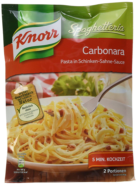 [amazon.de 5% Sparabo] 5 Packungen Knorr Spaghetteria Carbonara Sahne+Speck Nudel-Fertiggericht für 4,52€