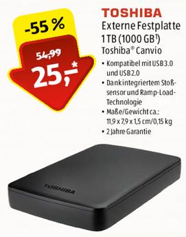 [lokal Fulda] ALDI Emaillierwerk Toshiba Canvio 1TB Externe Festplatte