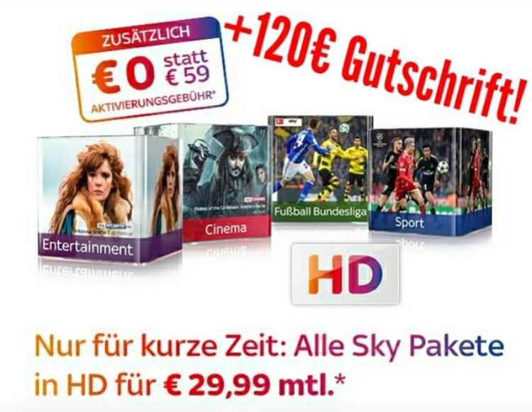 Sky komplett, HD, alle Pakete, HD Receiver und GO