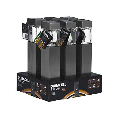 Duracell Solar LED Außenleuchte aus Glas und gebürstetem Edelstahl mit Erdspieß im 6-er Vorteilspack, 5 L, hellweiß