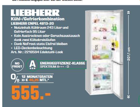 [lokal] Saturn Hennef, Siegburg, Augustin und Troisdorf: Kühlgefrierkomibination Liebherr CNPel 4813-20 für 555€!