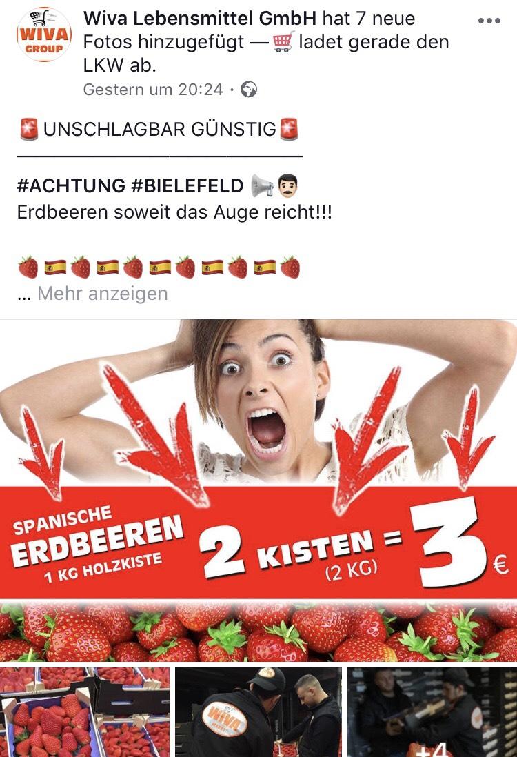 2 kg spanische  Erdbeeren für 3€ im wiva Markt in Bielefeld.  Lokal