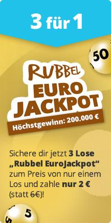(Lottohelden) 3 Rubbel-Lose Eurojackpot zum Preis von einem (auch Bestandskunden)
