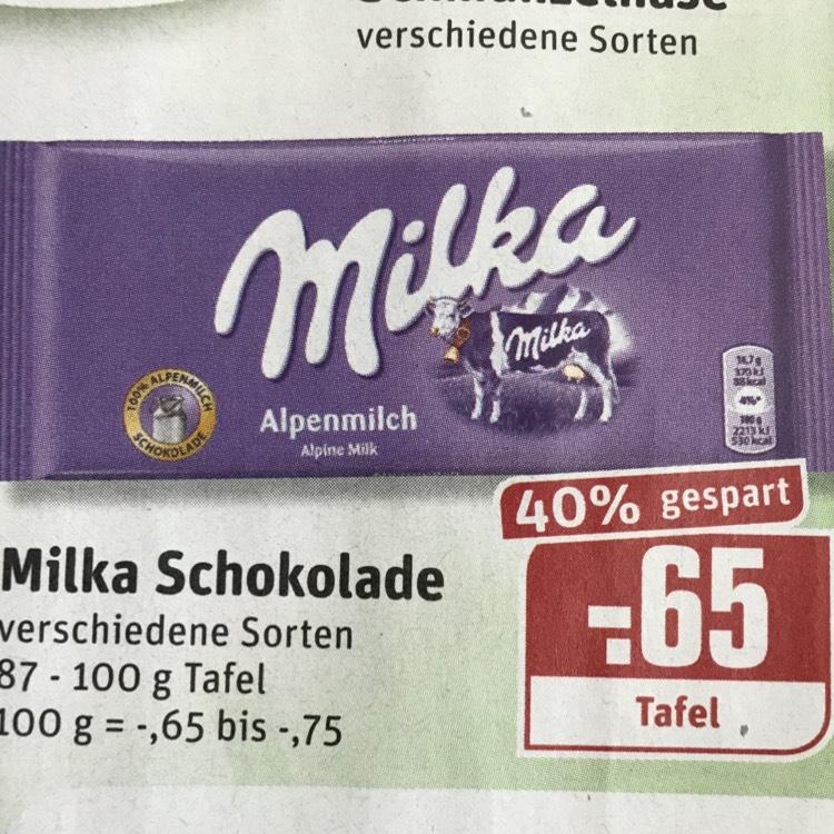 [REWE] Tafel Milka Schokolade in verschiedenen Sorten 87 - 100 g Tafel
