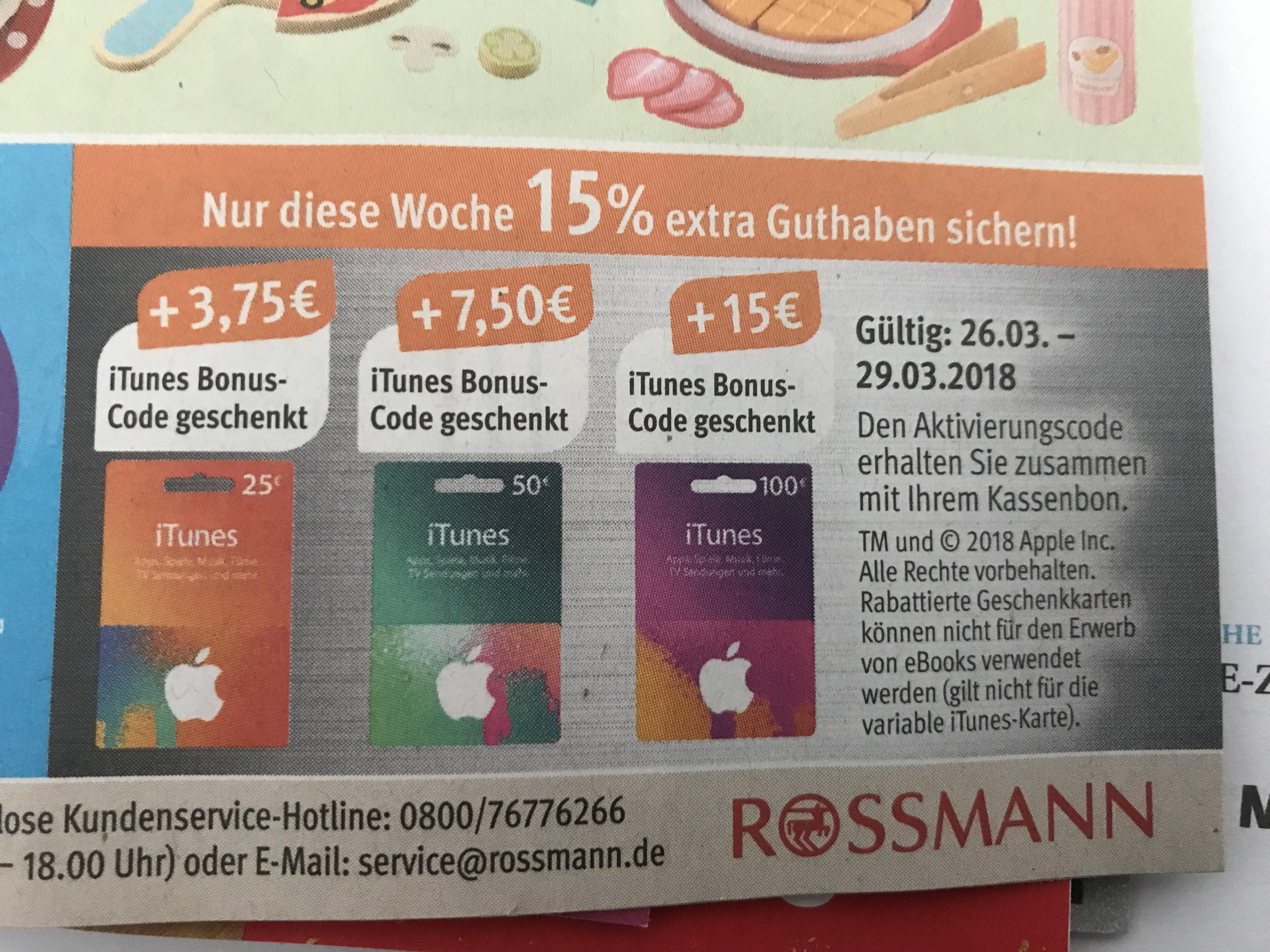 [Rossmann] 15 % Bonus-Guthaben bei iTunes-Karten, gültig vom 26.03. - 29.03.2018