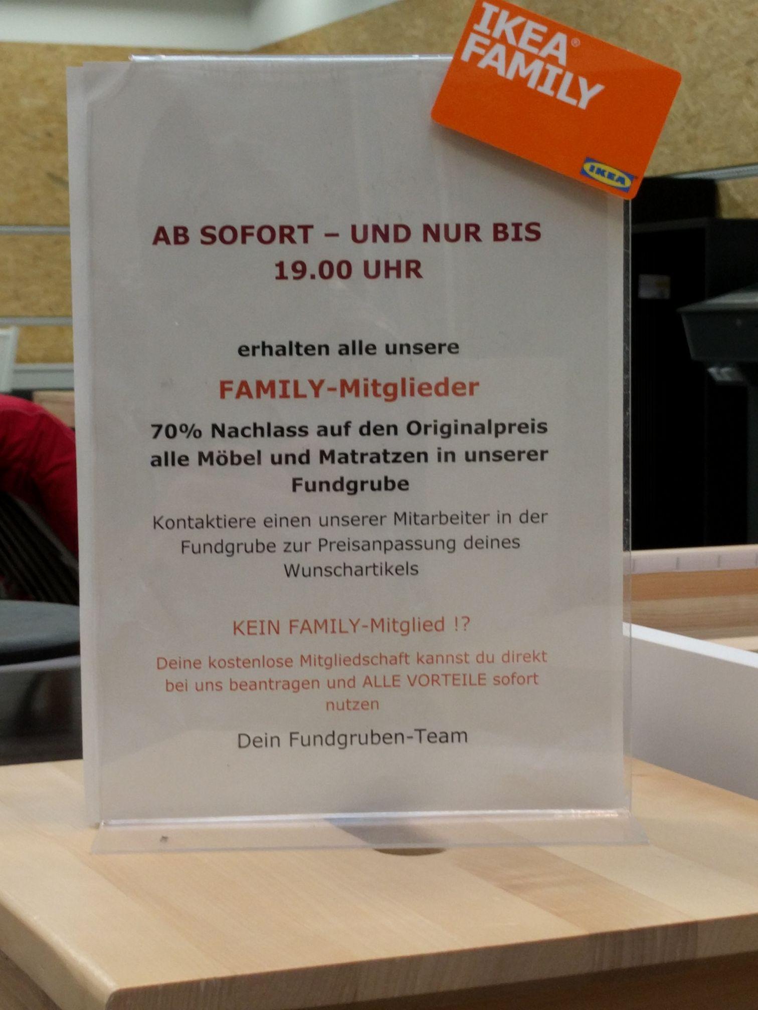 (Lokal Nürnberg / Fürth) 70% auf alle Möbel und Matratzen in der IKEA Fundgrube für Family-Kunden