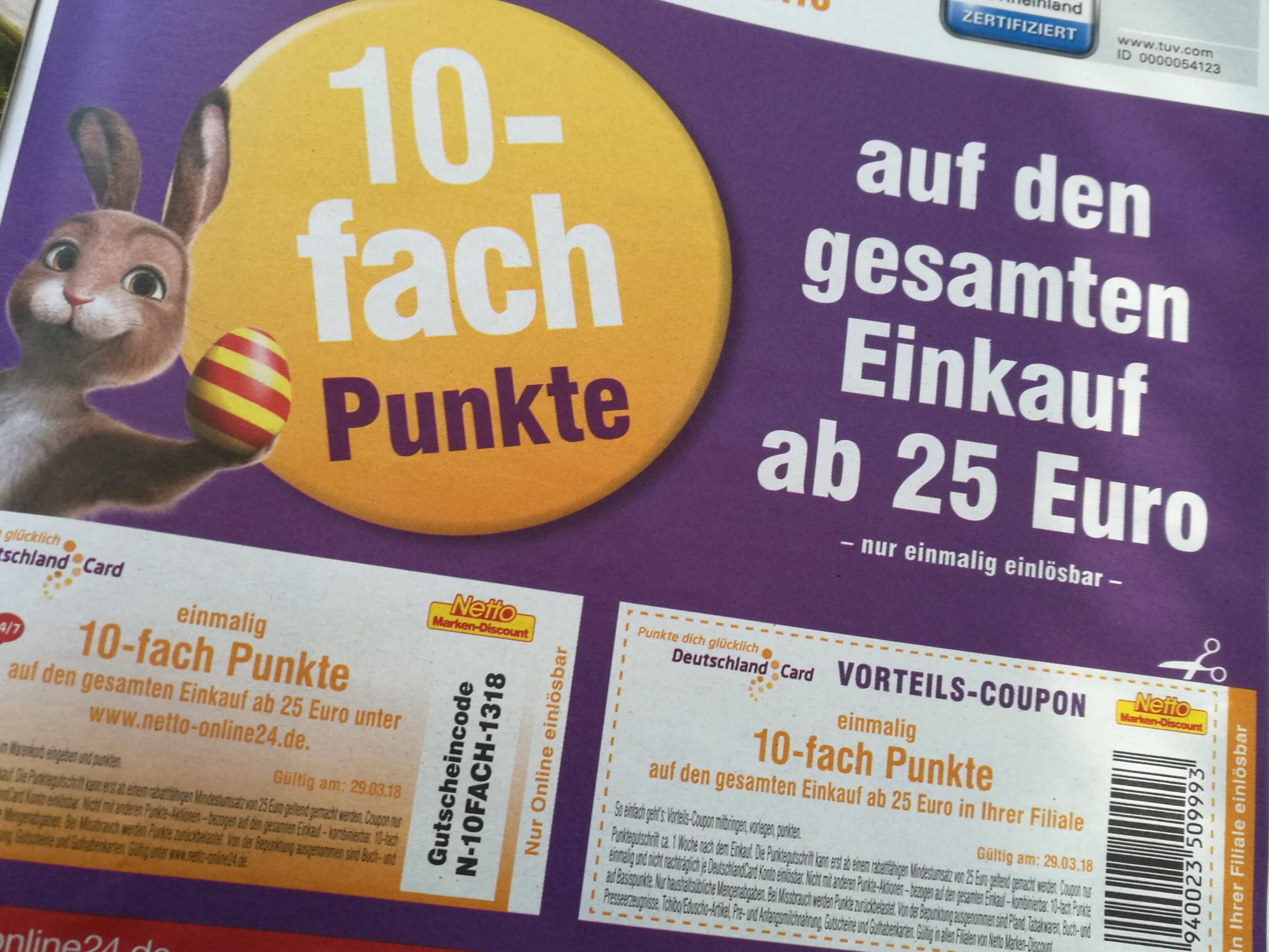 10-fach Deutschlandcard Punkte ab 25 Eur Einkaufswert am 29.03.18 bei Netto