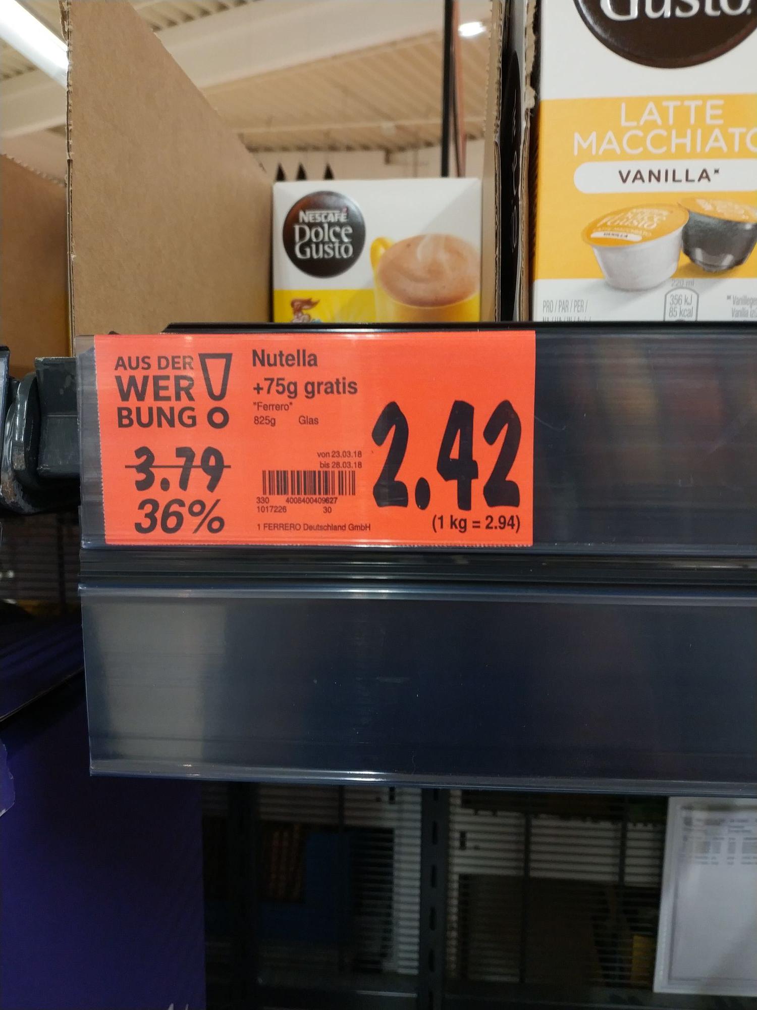 (Lokal Kaufland Velbert?) Nutella 825 g