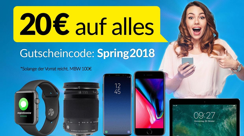 Bei asgoodasnew gibt es 20 Euro auf alles und 44 Euro auf alle iPhone X Modelle