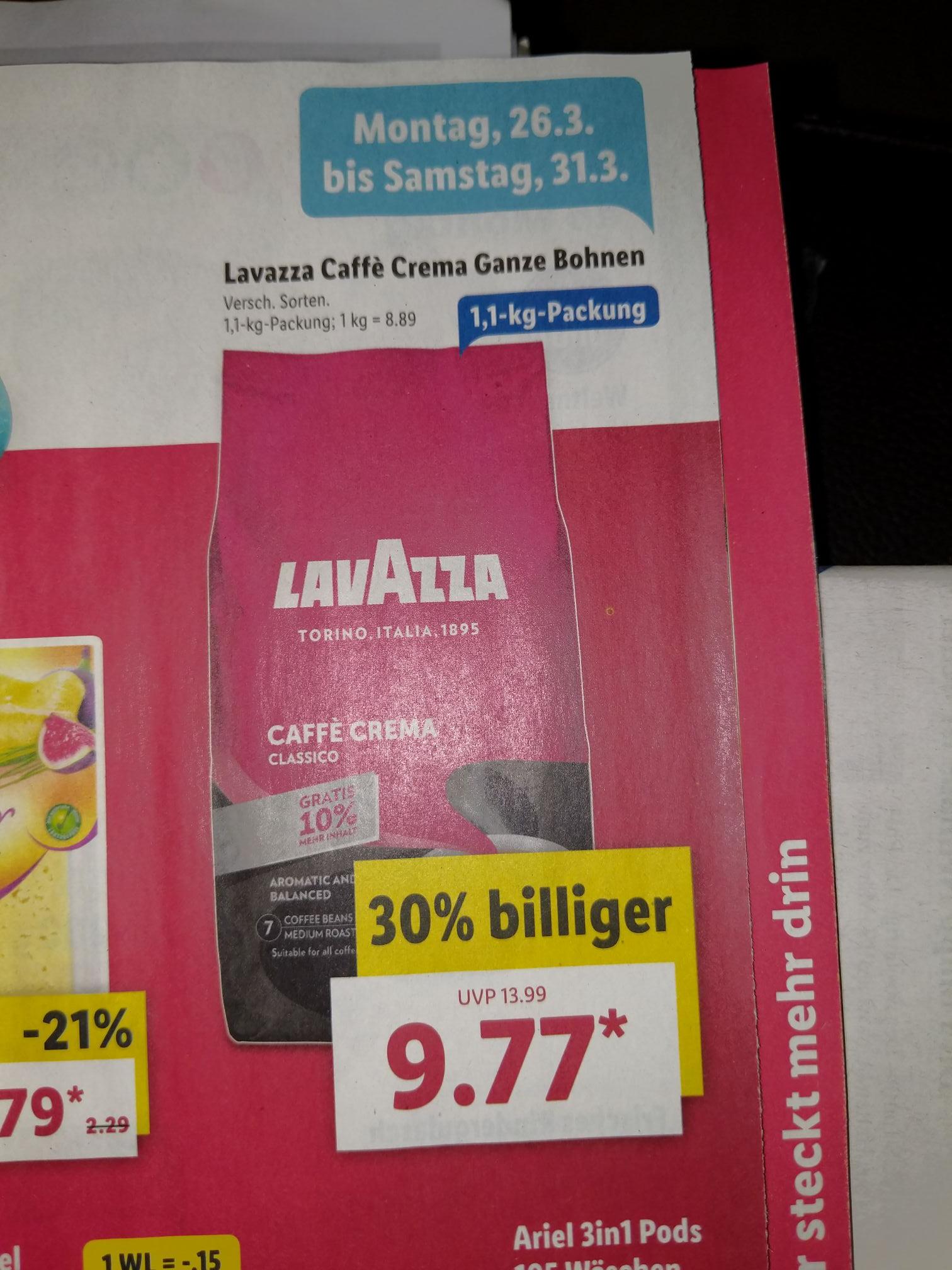 [Lidl] Lavazza Caffe Crema 1,1Kg / Versch. Sorten