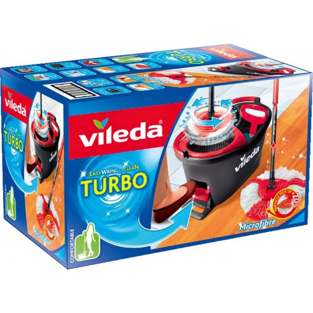 Vileda Turbo EasyWring & Clean Komplett-Set, Wischmop & Eimer mit PowerSchleuder für 16,99€ (Müller)