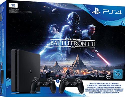 "[Amazon.de] Sony PlayStation 4 (Slim) mit 1TB + Star Wars Battlefront II + 2x ""DualShock 4""-Controller"