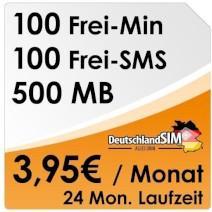 DeutschlandSim O2  100Min 100SMS 500MB Jetzt ab 4,78 mtl. bei 24 M MLZ