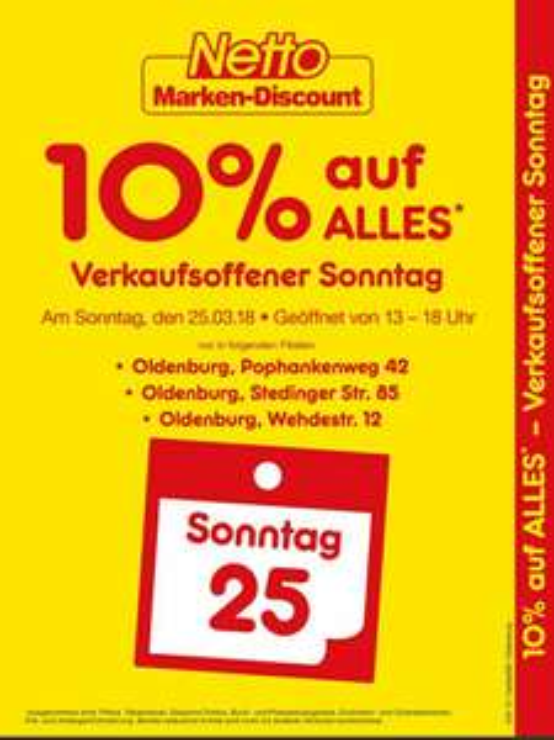 Netto Oldenburg 10% auf alles, Verkaufsoffener Sonntag