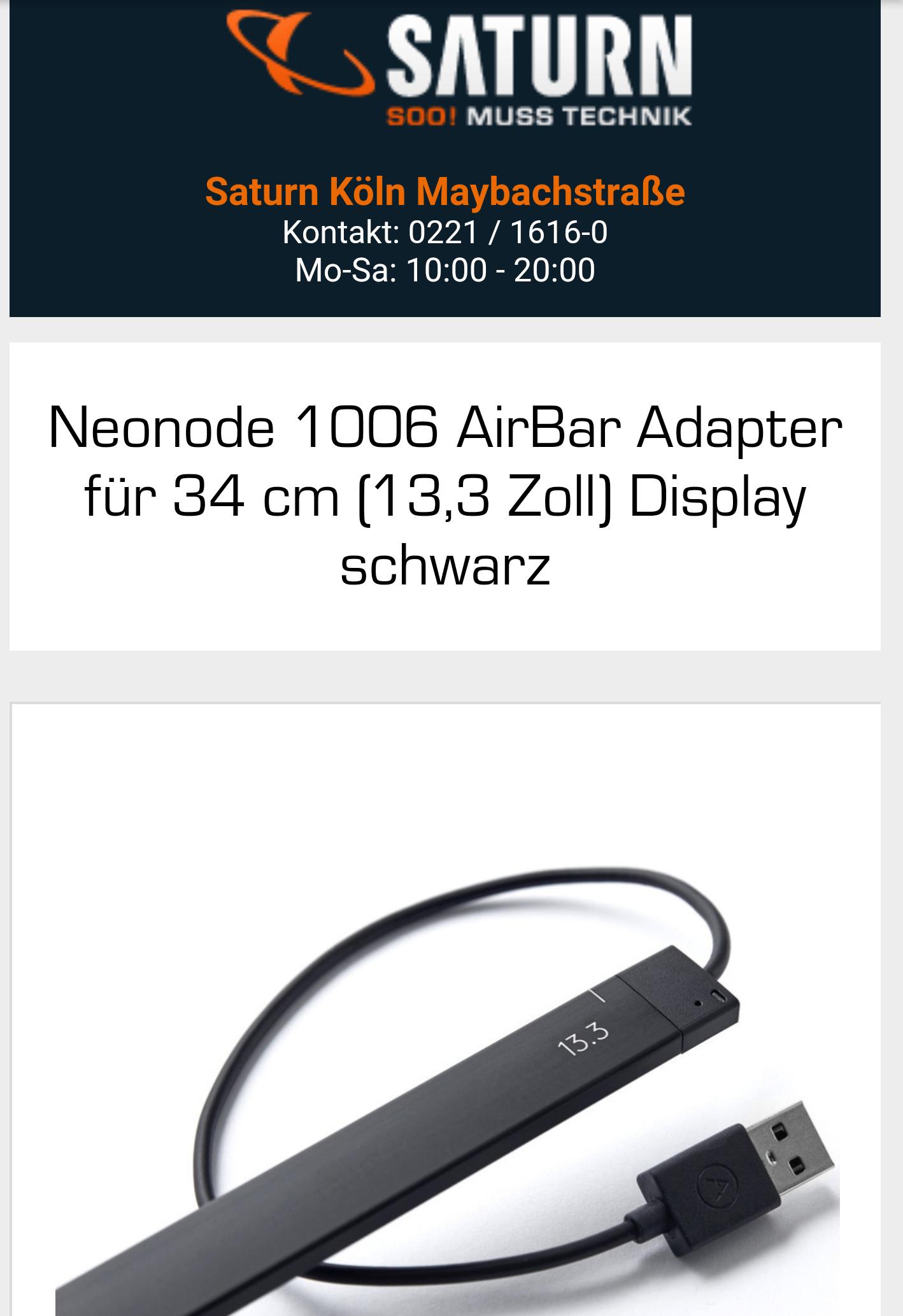 (Ebay) Neonode AirBar Adapter für 34 cm (13,3 Zoll) Display schwarz