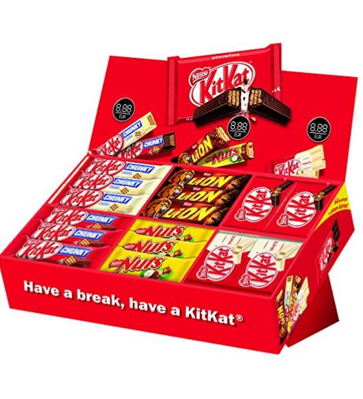 Amazon Prime Nestlé Party Box, KitKat, Lion und Nuts, 6 Sorten, 64 Schokoriegel PVG ca.30,-€