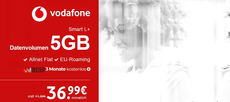 Top-Smartphone ab 1€ (Galaxy S8, iPhone X uvm.) + Vodafone Smart L+ mit 5GB LTE für 36,99€ mtl. + 3 Monate Deezer gratis + 100GB Gigaboost geschenkt